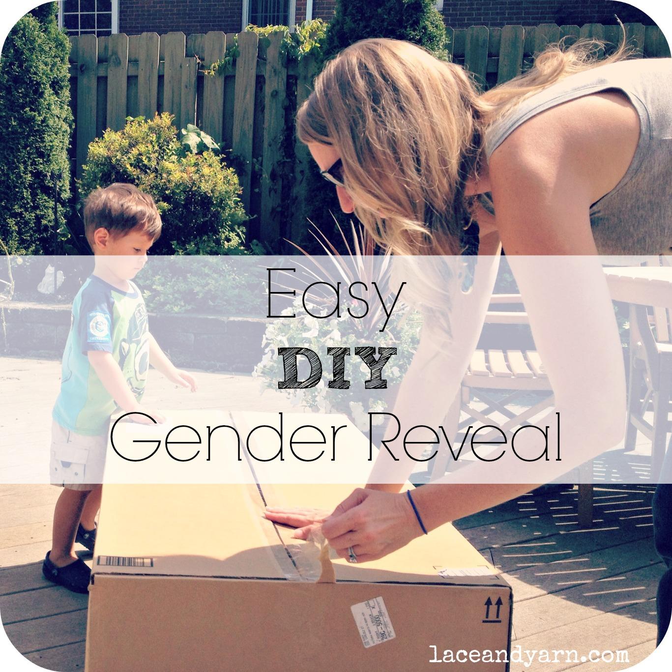 Easy DIY Gender Reveal by laceandyarn.com