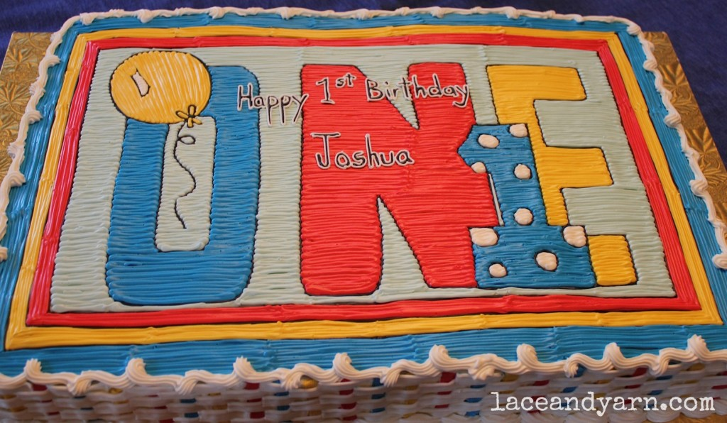 Primary color first birthday cake -- laceandyarn.com