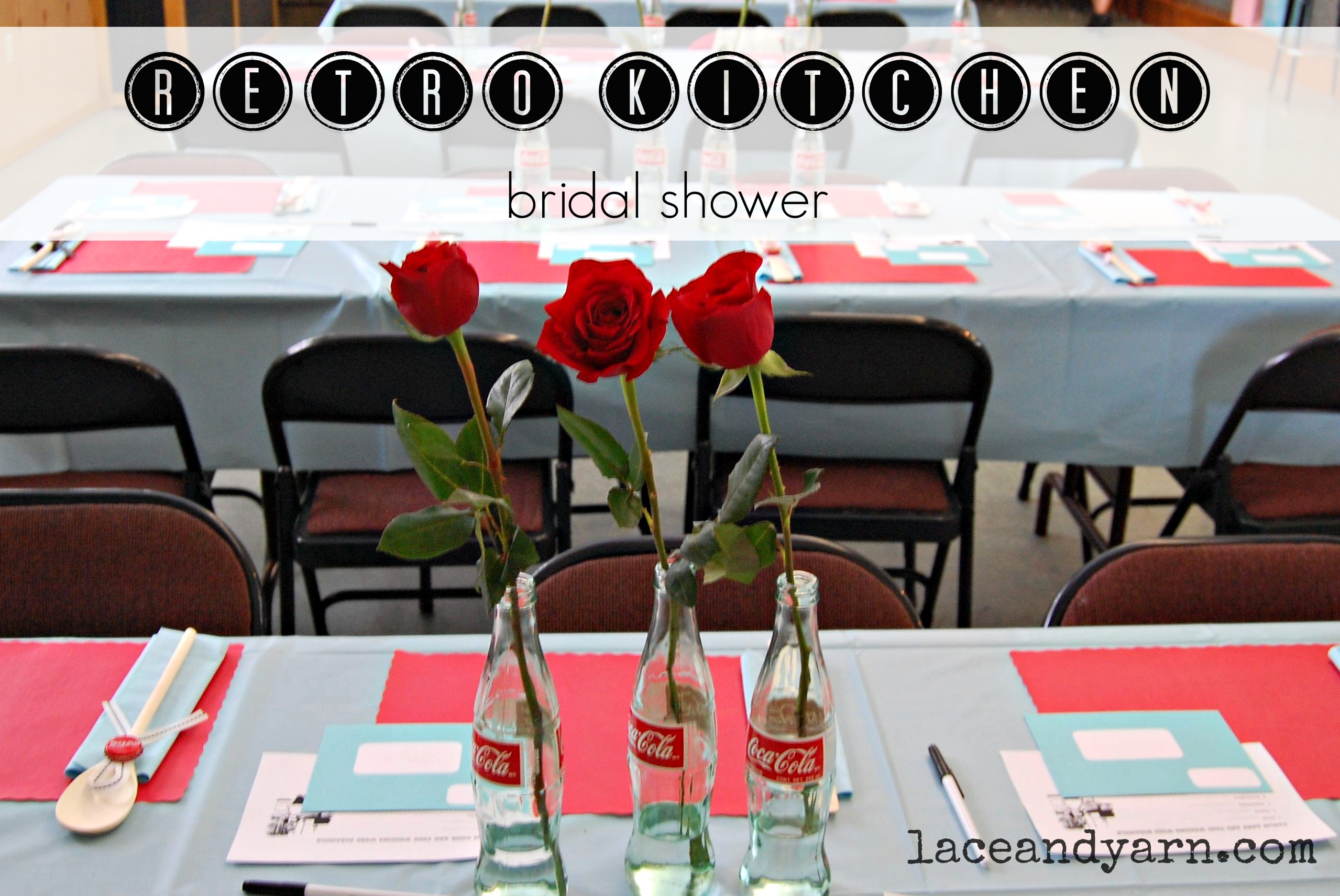 A Retro Kitchen Bridal Shower by laceandyarn.com
