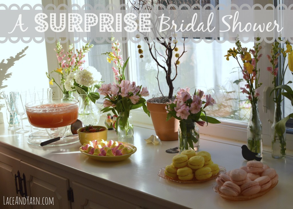 A Surprise Yellow and Pink Love Birds Bridal Shower -- laceandyarn.com