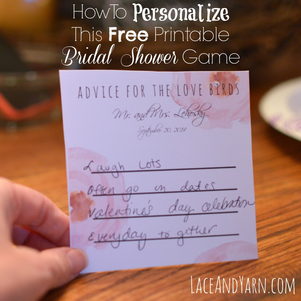 How to personalize this free printable bridal shower advice game using PicMonkey, a tutorial -- laceandyarn.com