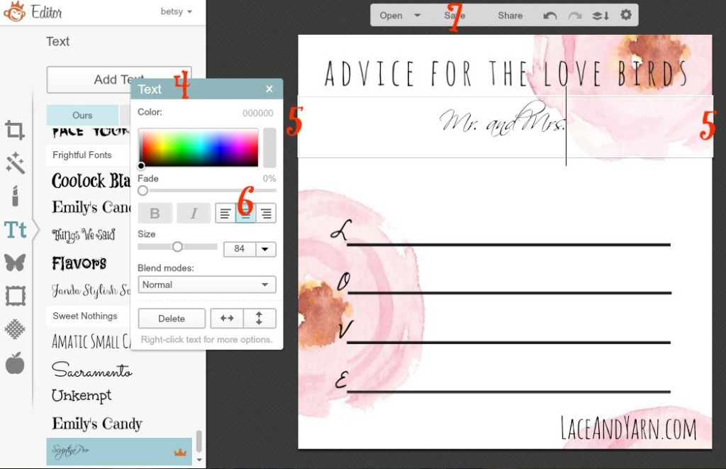 Advice for the Love Birds Shower Game Personalization -- laceandyarn.com