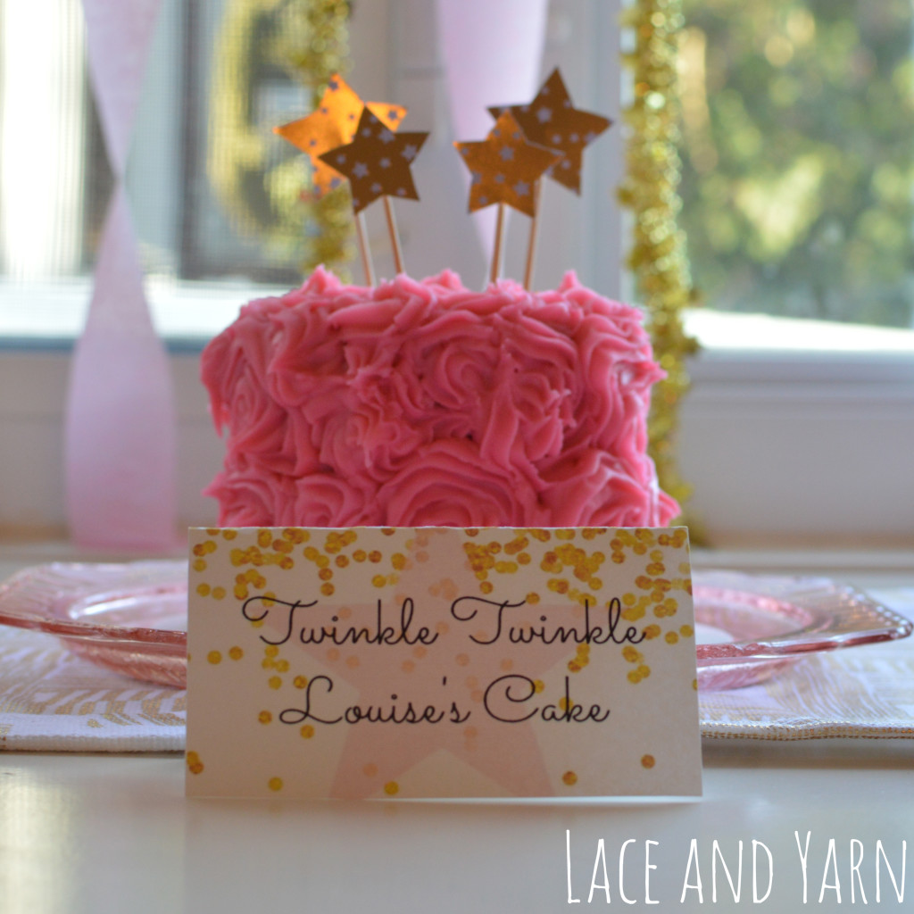 Twinkle Twinkle Little Star pink and gold party smash cake -- by laceandyarn.com