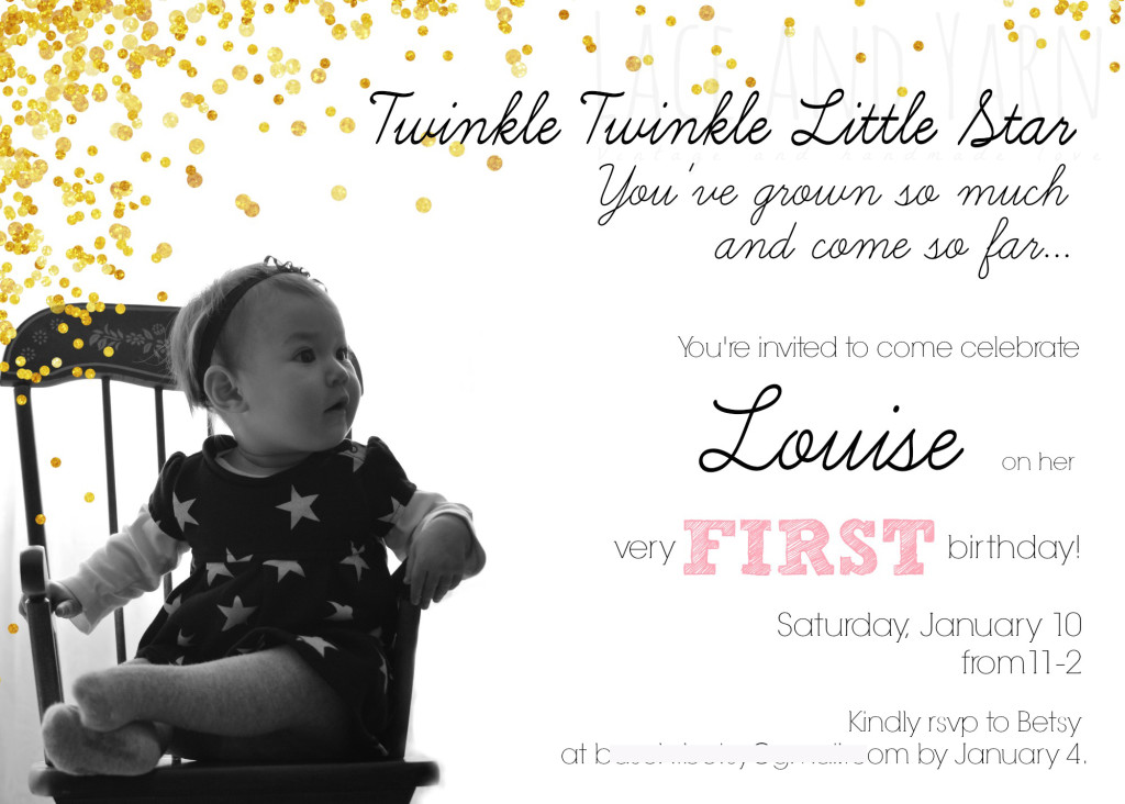 twinkle twinkle little star party invitation by laceandyarn.com